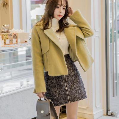 F6086 实拍2019韩版女秋装新款修身百搭呢子显瘦时尚短款毛呢外套