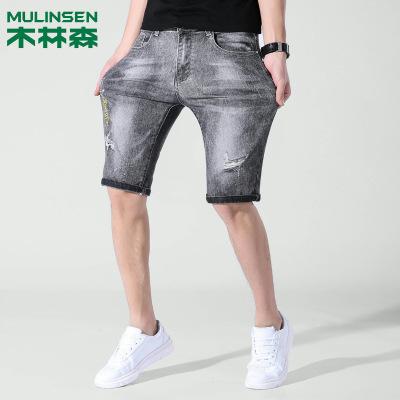 木林森新品牛仔短裤男士韩版修身品牌牛仔男中裤潮男五分裤夏季薄