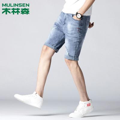 木林森 夏薄款新品牛仔短裤男士韩版修身品牌牛仔裤男潮五分裤子