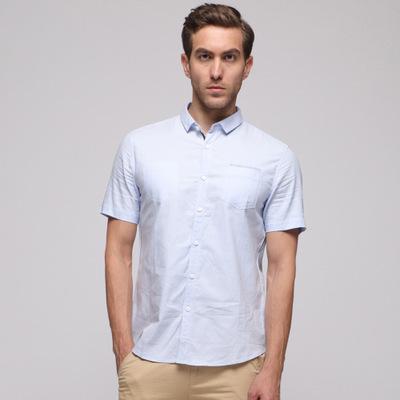 新款热卖棉质纯色牛津纺短袖男式衬衫韩版个性时尚青年潮衬衣
