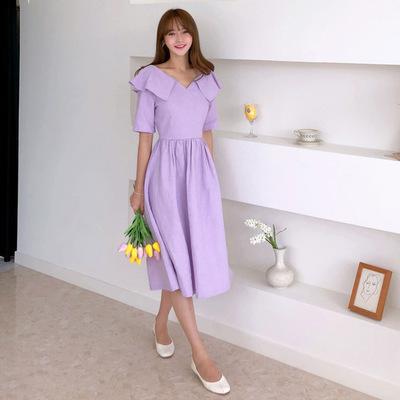 19夏新款韩国东大门同款浪漫紫方领荷叶边亚麻仙美短袖连衣裙O33
