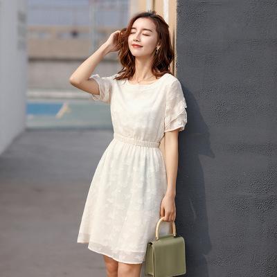 2019夏季新款韩版高腰a字中长款荷叶边短袖连衣裙女