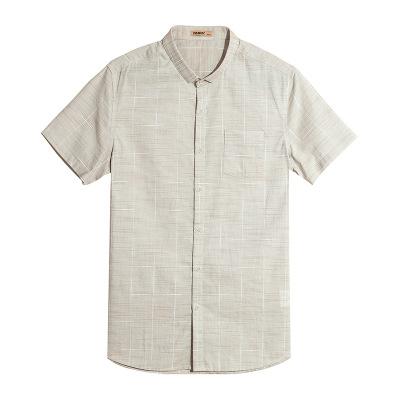 2019韩版夏季新款短袖衬衫男士时尚绿色格子休闲衬衣1307