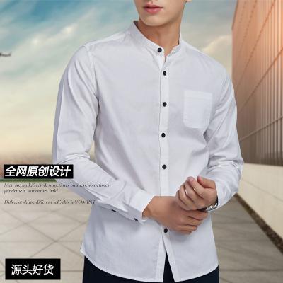 2019男装休闲衬衣日韩风格小领纯色纯棉男式长袖衬衫11009