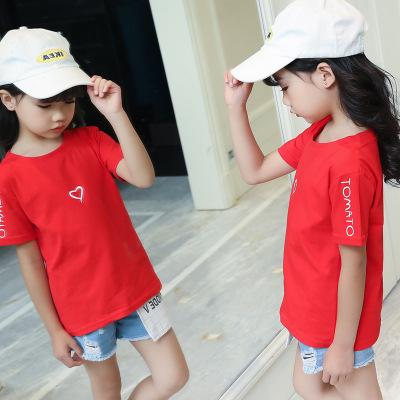 女童2019新款夏装韩版儿童T恤字母女童中大童吸汗圆领上衣潮短袖