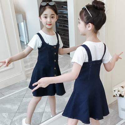 女童裙子夏季新款2019韩版儿童连衣裙中大童牛仔背带裙公主裙