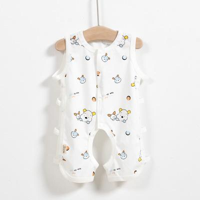 夏季婴儿连体琵琶衣女童无袖开档哈衣宝宝精梳棉连身爬服