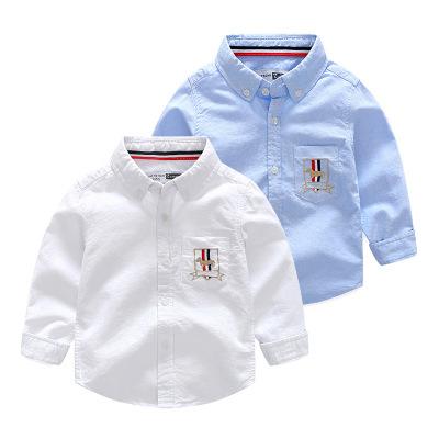 新款秋款韩版精品童装男童儿童全棉纯色刺绣汽球长袖衬衫宝宝衬衣