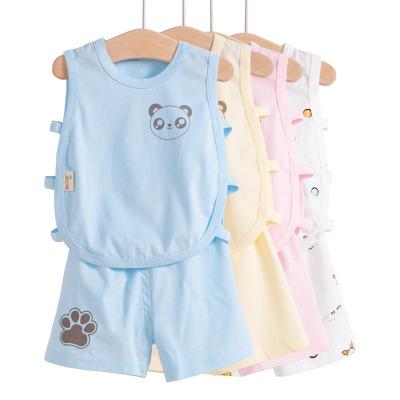 婴儿t恤夏季纯棉琵琶衫上衣男女宝宝背心儿童无袖短裤套装