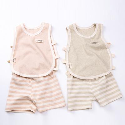夏季宝宝彩棉背心纯棉琵琶衫婴儿两件套儿童无袖镂空家居服童套装