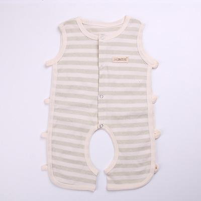 宝宝夏季服装彩棉衣服背心琵琶衫连体衣新生婴儿纯棉无袖哈衣爬服