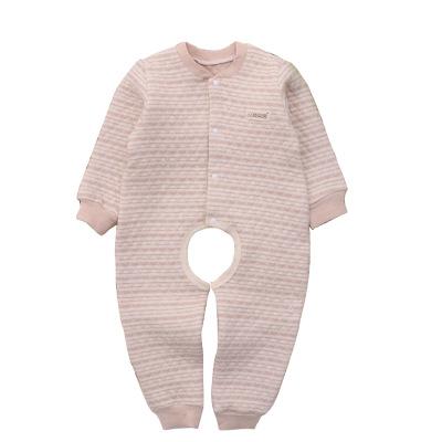 秋冬婴儿保暖连体衣宝宝纯棉衣服小孩天然彩棉哈衣儿童夹棉连体衣