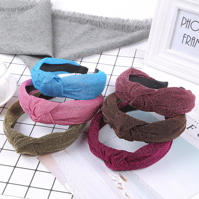 Korean version of the new fashion knitting in the middle of the headband versatile ladies wide-brim headband hair yiwu hair decoration wholesale
