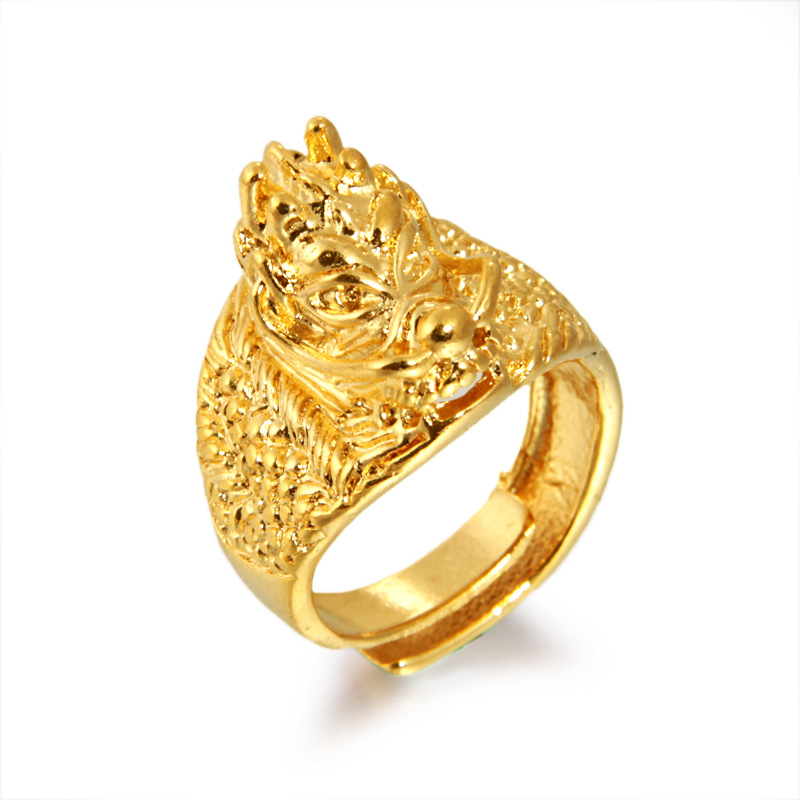 Air faucet ring opening male one gold thick gold jewelry gold 24 k gold plated ornaments