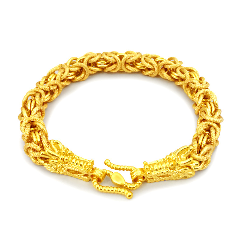 New gold-plated double head bracelet necklace with Vietnam gold bracelet male European currency jewelry jewelry for a long time