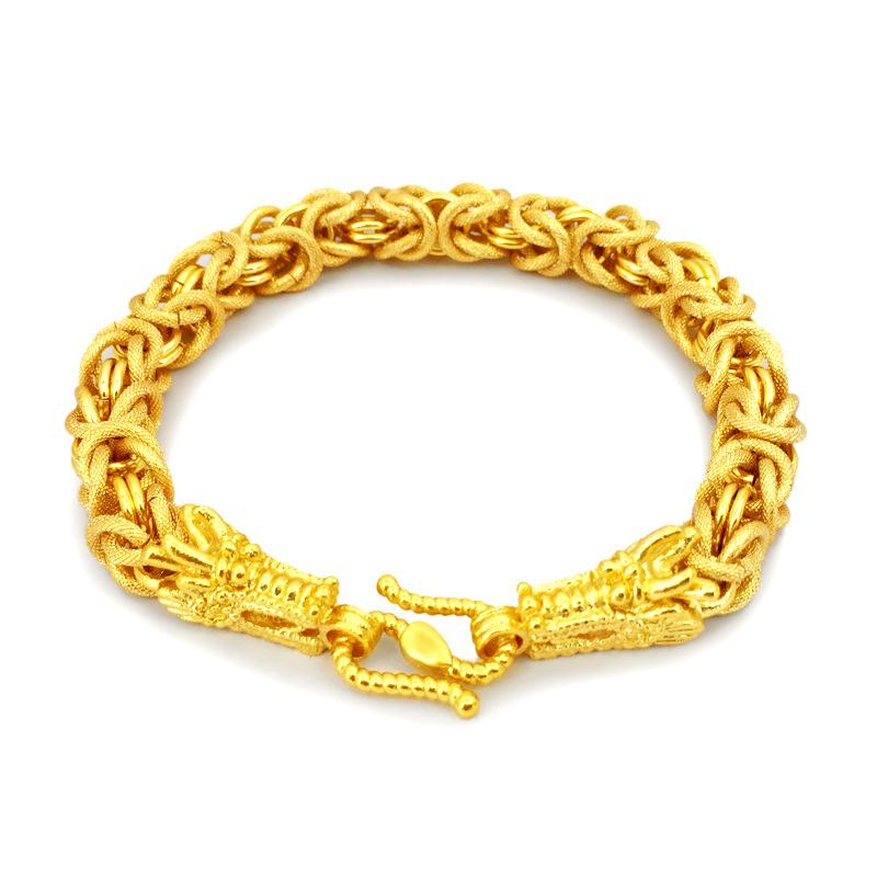 新款镀金双龙头手链项链同款越南沙金手链男欧币首饰饰品久不掉色