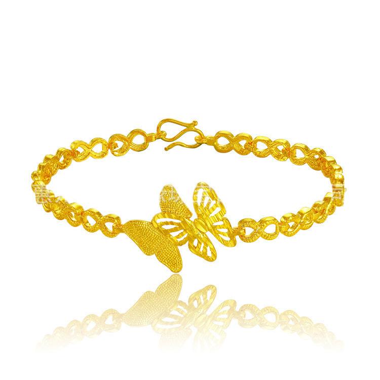 沙金久不掉色仿黄金款式手链 女蝴蝶形镀金手表链 结婚首饰