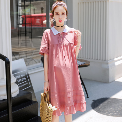 The Korean version of The maternity cotton and linen dress, a new summer product, is The b-8060 maternity dress with a long lapel in a solid color