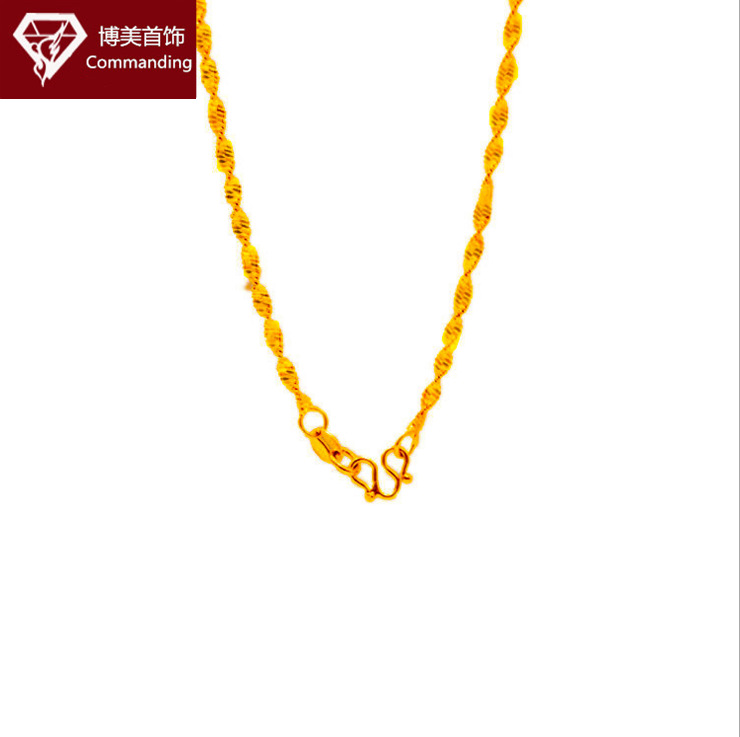 European currency imitation gold head ornament hot style versatile water ripple necklace for women brass plated 24K gold necklace for a long time does not fade