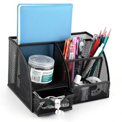 创意金属多格笔筒多功能桌面文具办公用品收纳盒批发网格镂空筆筒