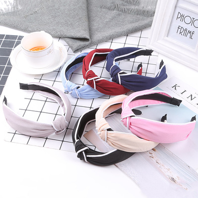 2019 new knitted knotted white bag with wide side hair band headband