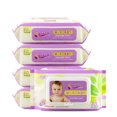 Xiumei baby wipes newborn anti red butt 80 smoke 5 packs with cover baby hand expressions using special wet wipes agent