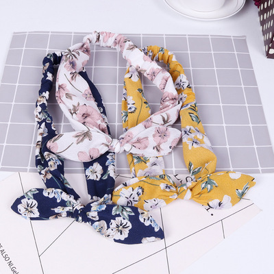 Korean cloth bow tie rabbit ear sports binding hair band ladies fashion headband wash face hair band manufacturers wholesale