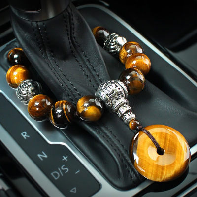 High-grade natural tiger eye stone stall bead car hang safe buckle PI xiu internal decoration stall bead pendant