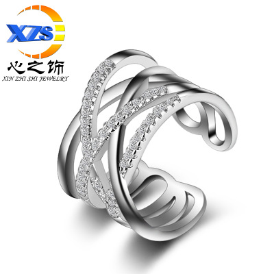 The heart of The ring women's Japanese and Korean version of The double layer fashion line diamond inlaid ring wholesale
