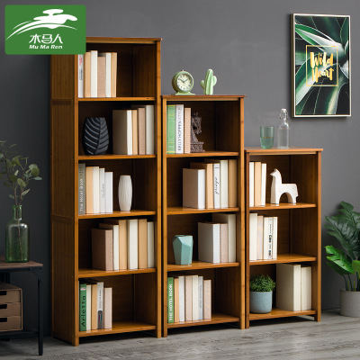 Wooden person simple and easy bookshelf buy content rack solid wood is multilayer born Chinese style store content to receive a sitting room to restore ancient ways bookcase