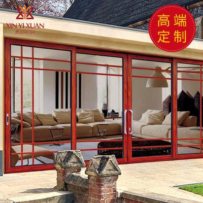 豪华重型别墅客厅阳台极窄边推拉门防盗铝合金玻璃移门带金刚网