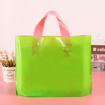 Green horizontal edition plastic handbag clothing store shopping bags men's and women's gifts shopping bags custom designs