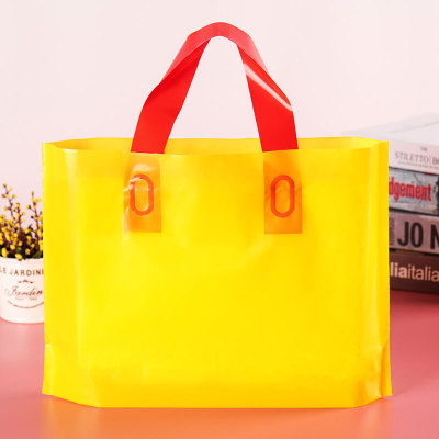Yellow horizontal version style plastic clothing store bag shopping bag custom printed logo men and women's clothing bags