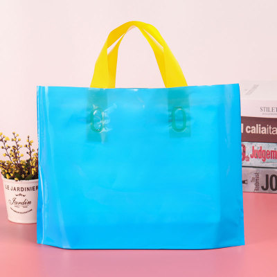 Blue horizontal version handbag plastic bag custom logo clothing store shopping bag custom women's children's clothing bags