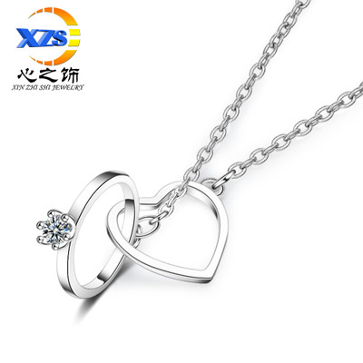 The heart ACTS The role of double ring necklace pendant female vogue han edition sets diamond double buckle contracted ring short clavicle chain