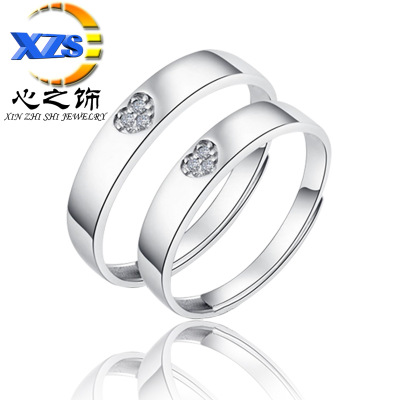 Heart of the act the role of Heart to Heart printing on the ring Korean version of fashion opening ring set diamond lovers Heart ring batch instead of hair