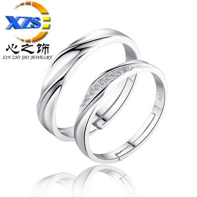 The heart of The act of Korean version of couples ring set with diamonds to spend love in love to ring fashion opening wholesale men and women