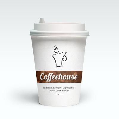 批发一次性豆浆纸杯带盖咖啡杯定制创意外卖杯瓦楞杯套印刷logo