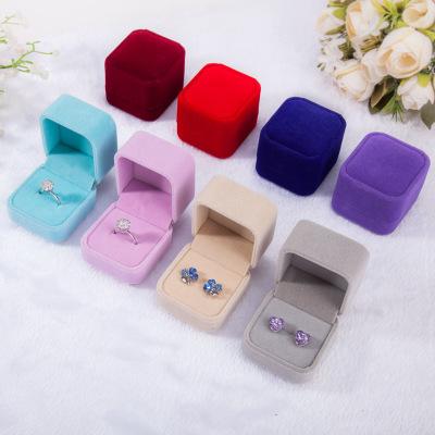 Flannelette ring box jewelry box badge box pink gray jewelry box jewelry ring wholesale