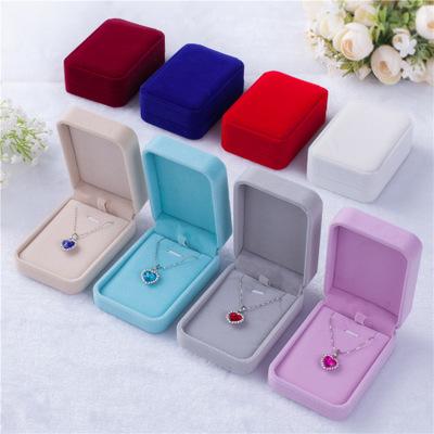 Flannelette pink jewelry box necklace box large pendant box spot jewelry box wholesale 7*10