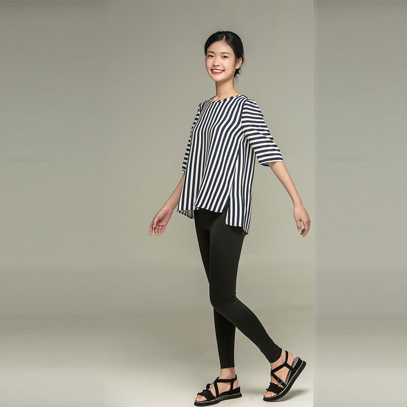 Asymmetrical striped shirt