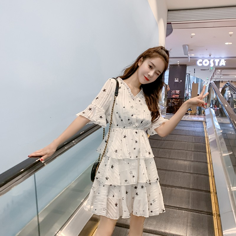 Korean version of the star long chiffon beach skirt