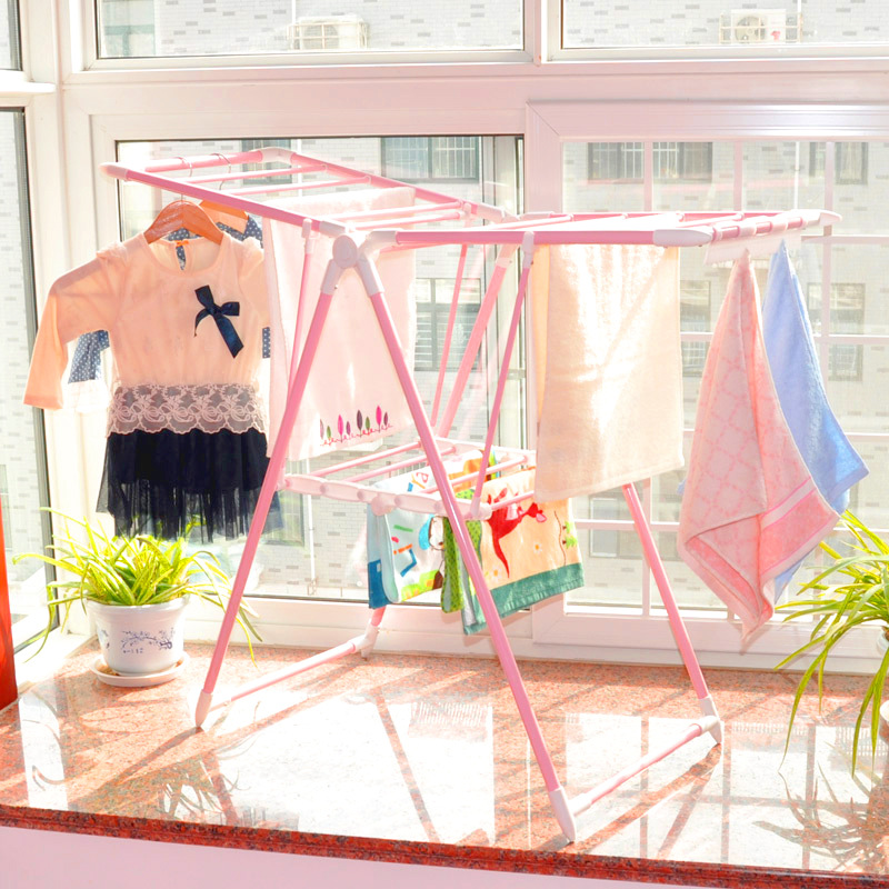 Small do not need to install children drying clothes indoor bay window landing folding pink baby diaper shelf
