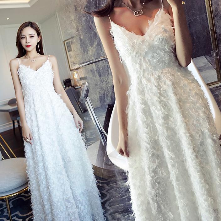 春夏名媛气质白色流苏羽毛吊带长裙名媛气质伴娘漏肩礼服连衣裙女
