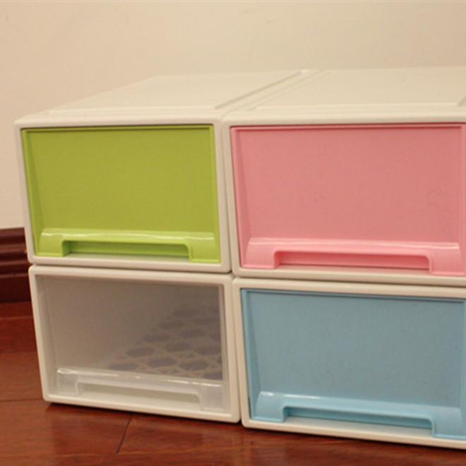 鞋盒加厚塑料大号收纳盒彩色男女鞋盒抽屉式收纳箱防尘组合收纳柜