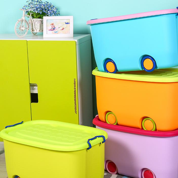 儿童衣服收纳箱有盖塑料玩具整理箱婴儿收纳盒宝宝衣物储物箱