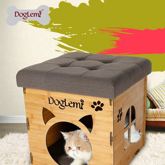 厂家直销 专利新品可收纳多功能创意凳子宠物窝 木纹居家猫窝坐凳