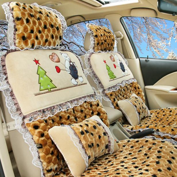 冬季汽车坐垫毛绒通用座套全包围座椅套短毛绒坐垫汽车毛垫女士