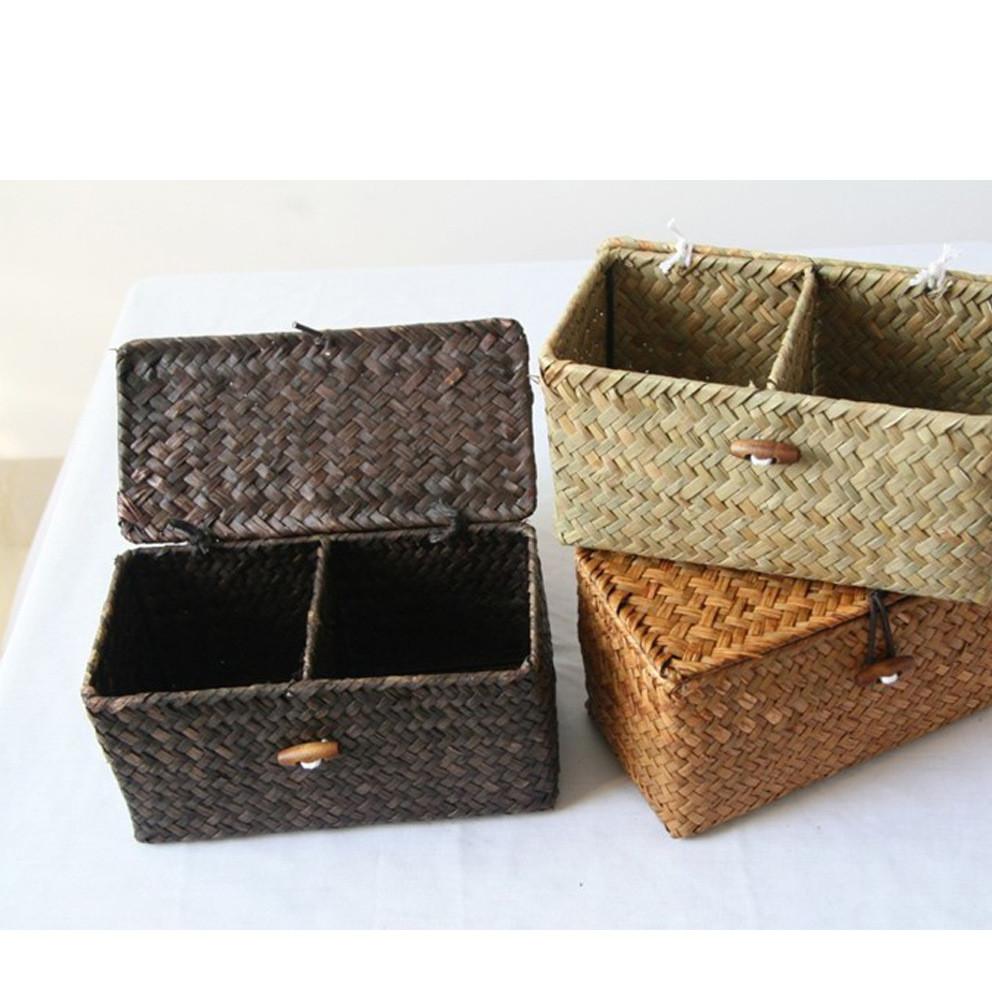 日单杂货 带盖两格盒 化妆品盒 茶叶收纳盒 草制礼品盒 茶叶礼盒