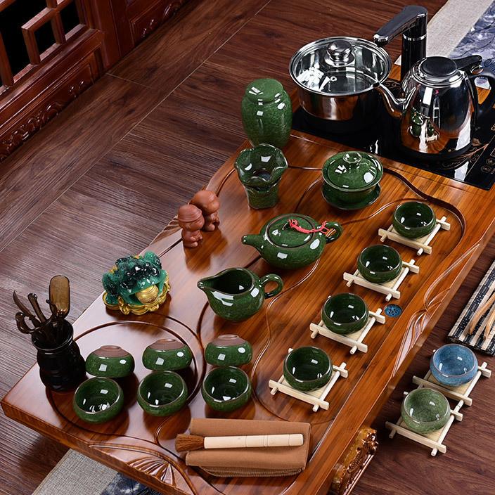 茶具套装 冰裂釉紫砂汝窑玲珑唐诗茶具四合一电磁炉实木茶盘整套